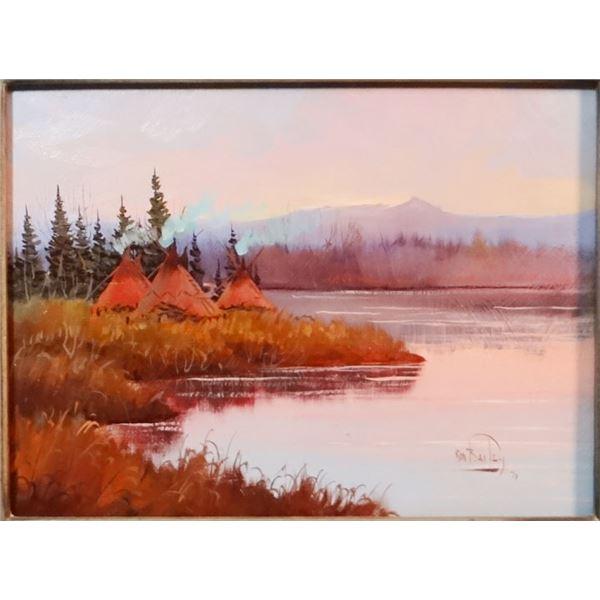 "Bailey, Ron, (1943-1984) River Encampment, oil on board, 9"" x 12"""