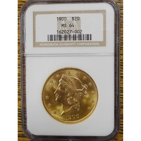 1900 Gold $20 Liberty, NGC MS 64  Est. $2200 - $2750