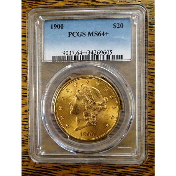 1900 Gold $20 Liberty, PCGS MS 64+ Est. $2300-2750