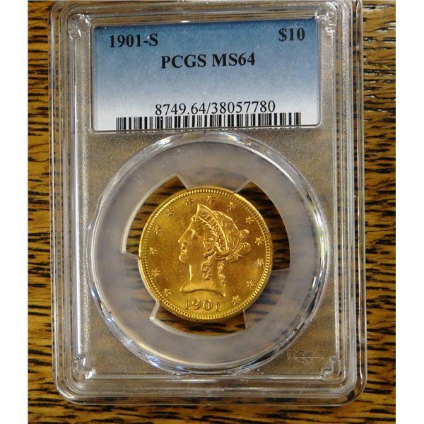1901-S Gold $10 Liberty, PCGS MS 64 Est. $1800 - 2000