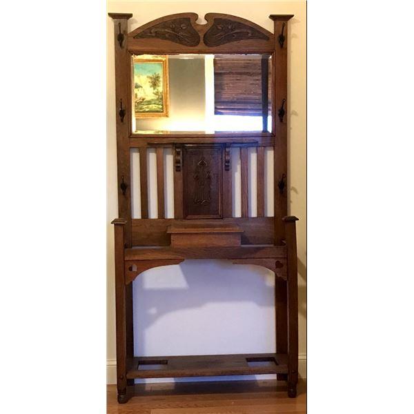 Oak hall tree w/original beveled mirror