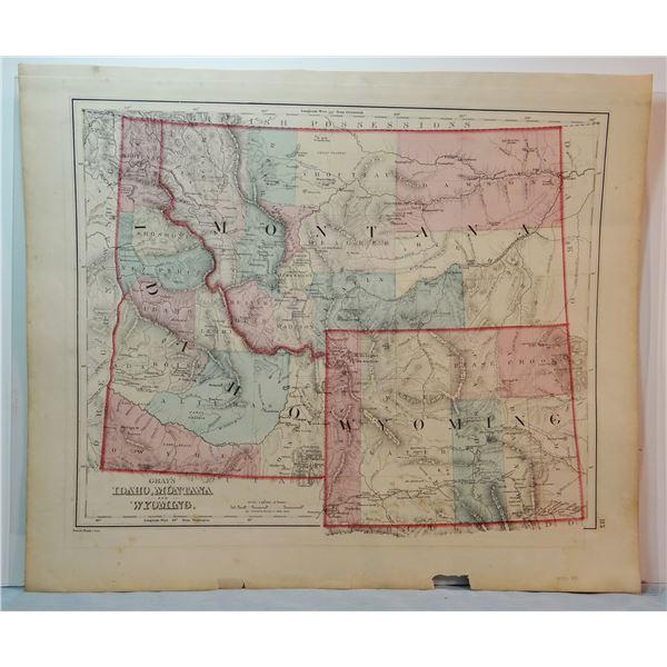 "1873 Montana map, 12 x 15"", includes Wyoming & Idaho, 11 counties"