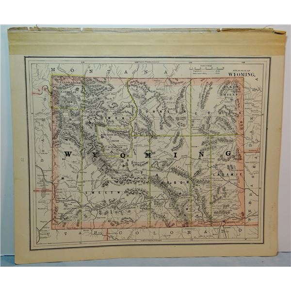 1885 Montana map, 12 x 19 inches, 14 Counties, First year Fergus Co