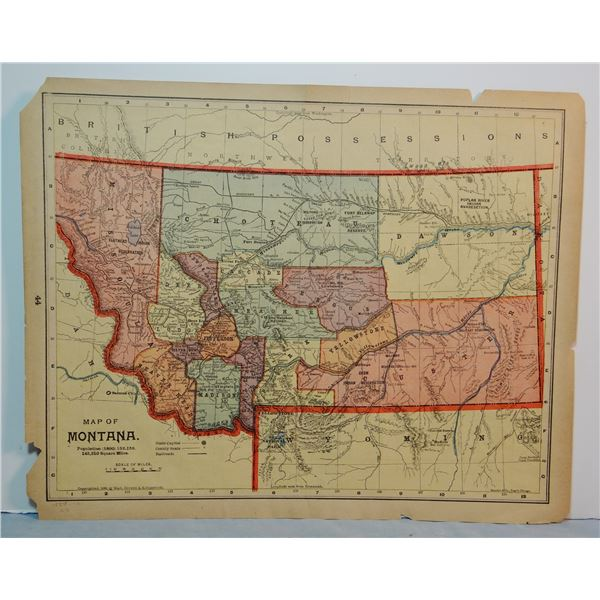 1887 Montana map, 10 x 13 inches, 16 Counties.