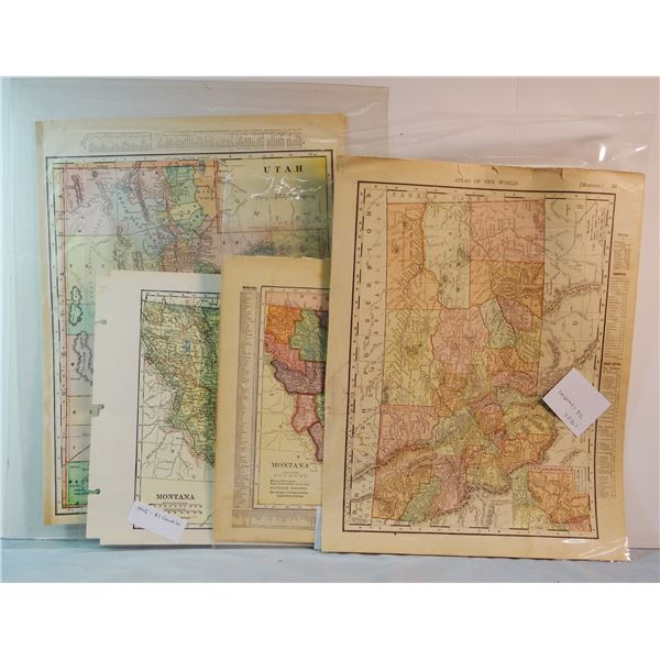 "4 Early Montana maps: 1897, 12 x 19"", 24 counties; 1901, 9 1/2"" x 12 ½"", 26 counties; 1909, 8 x 11"","