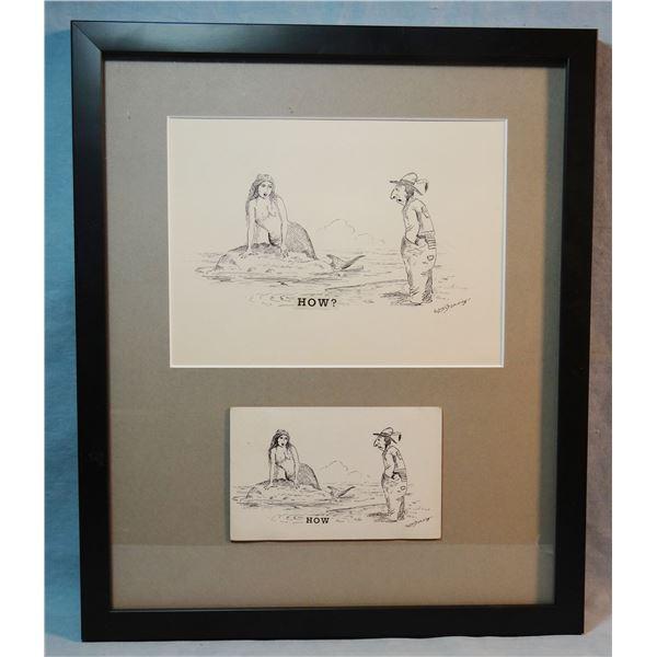 Standing, William (1904-1951) original postcard pen & ink w/ resulting postcard, framed,  How? , 6 ¼