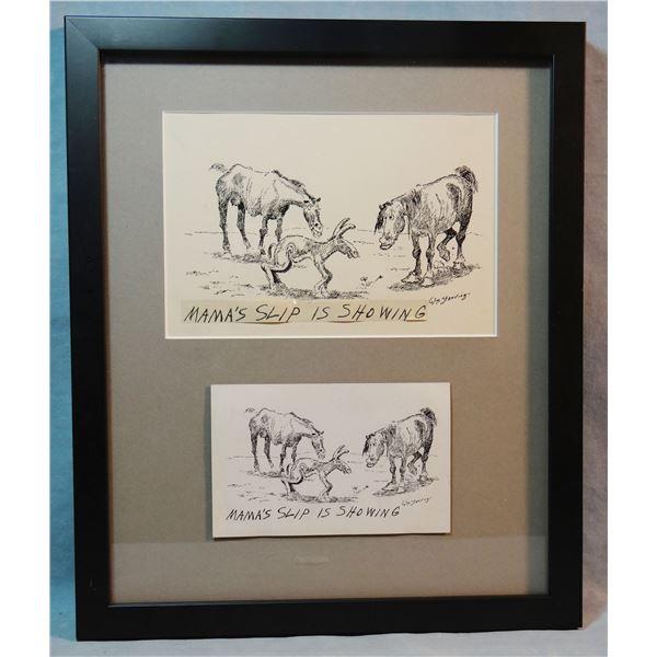 Standing, William (1904-1951) original postcard pen & ink w/ resulting postcard, framed, Mama's Slip
