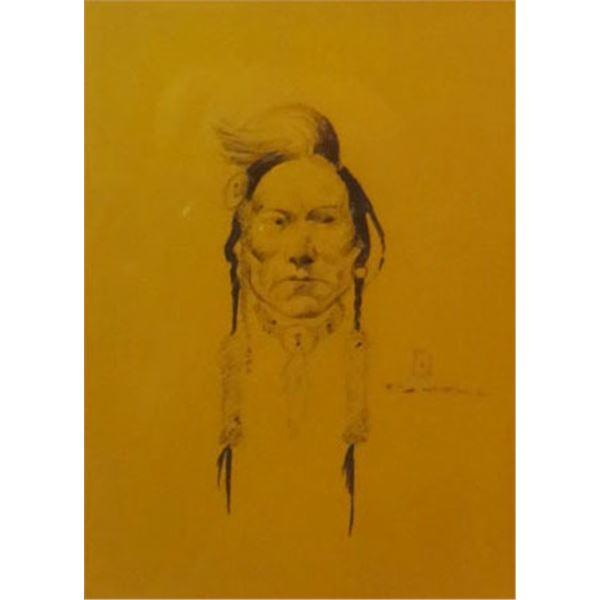 """Powell, Ace (1912-1978) Indian Portrait, pen/ink, 7 1/2 x 5 1/2"""""""