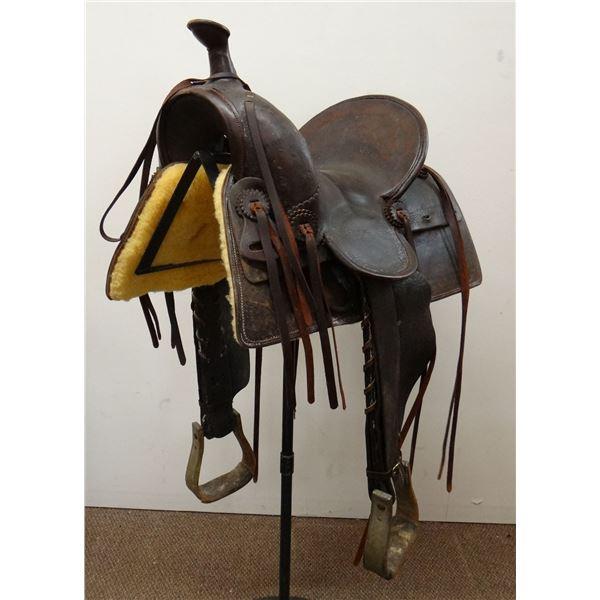 "Al Furstnow 14"" saddle, single rigged, restored with new lining, sq. skirt, #488"
