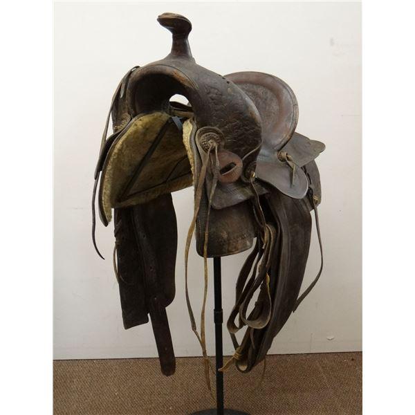 """Miles City Saddlery 14"""" saddle, border tooled, good lining, double marked"""