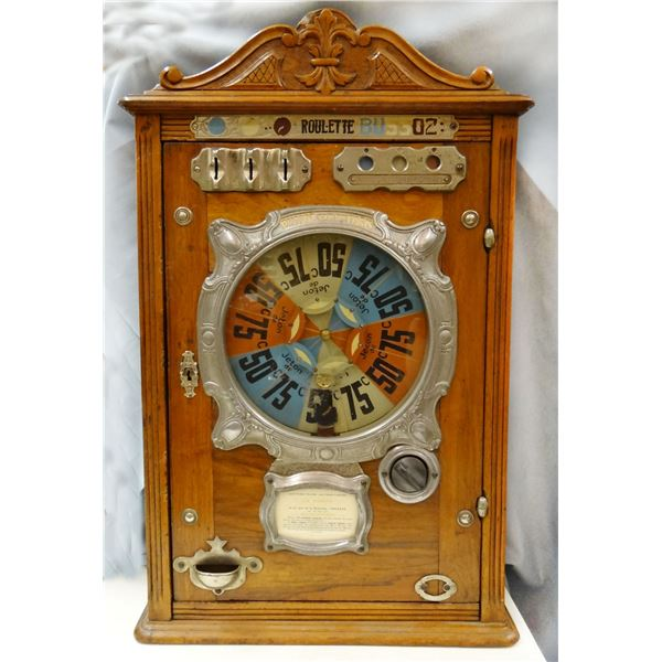 1870's-80's Roulette coin-operated machine, wooden case, Jeton