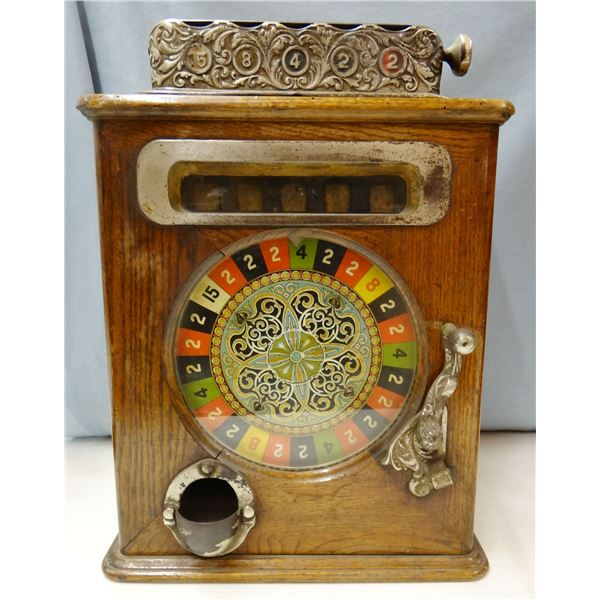 1870's-80's Roulette coin-operated machine, wooden case, missing the back