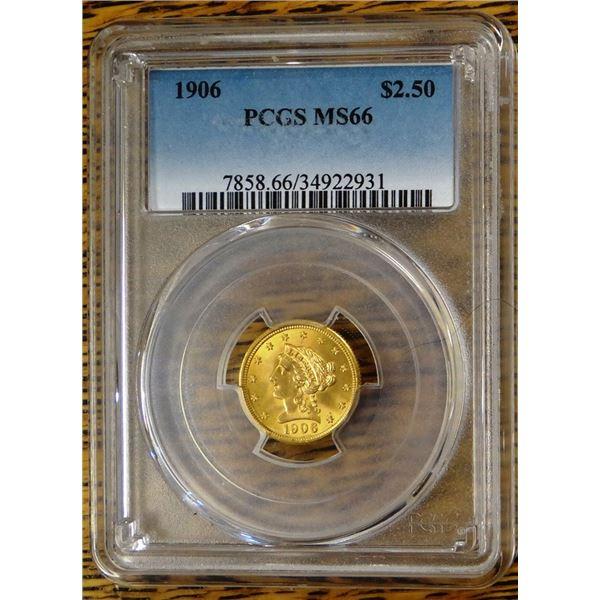 1906 Gold $2.50 Liberty, PCGS MS 66 Est. $950 - 1150