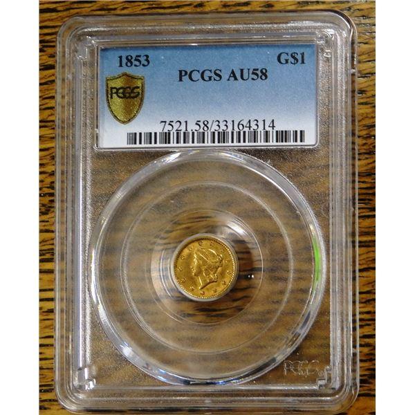 1853 Gold $1 Liberty, PCGS MS 58 Est. $250 - 350