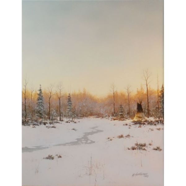 "Heichberger, R. A., oil on board, Snow Camp, 16"" x 20"""