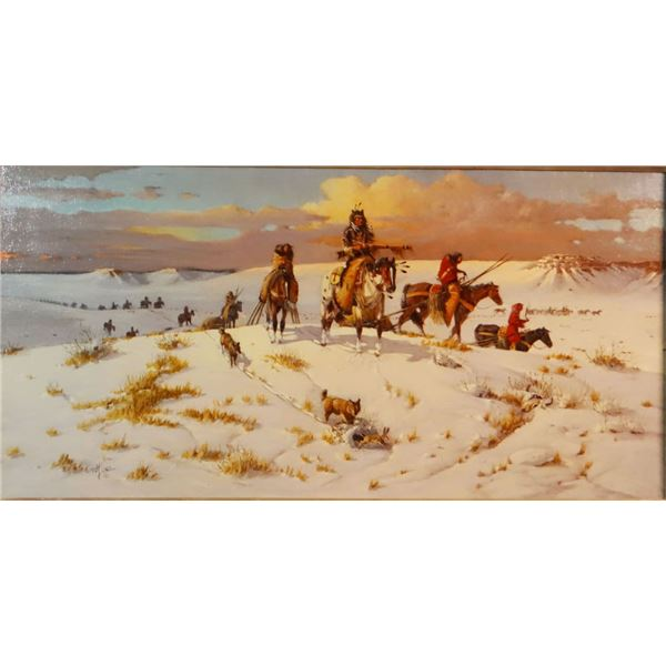 "Long, Ted (1932 - 2007), oil, In Search of The Buffalo, 16"" x 30"""