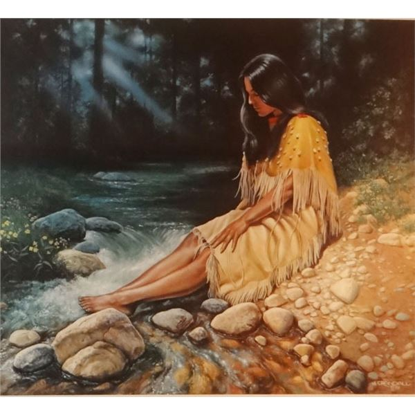 "Crandall, Jerry, Indian Maiden At The River print, 66/100, 1979, 20"" x 22"""