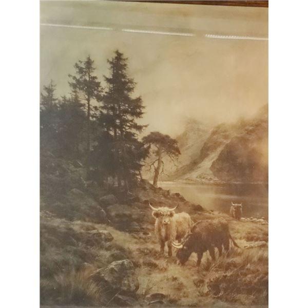 "Hurt, Louis Bosworth (1856-1929), The Pass of Brander, Scottish Highlander Cattle, 26"" x 22"""