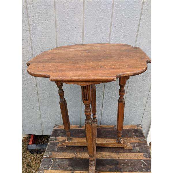 """Walnut parlor table, Voss Inn B&B in Bozeman MT. 24"""" x 24"""" x 29"""" h"""