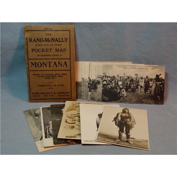 1914 Rand-McNally pocket map of Montana,  15 Indian postcards, (3 are real photo postcards)