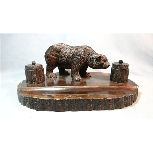 Carved bear double ink well