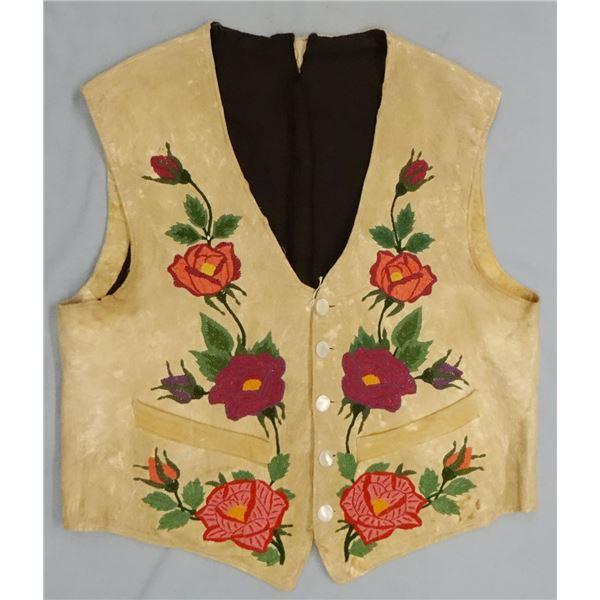 Embroidered vest, floral front, eagle & US Flag on back