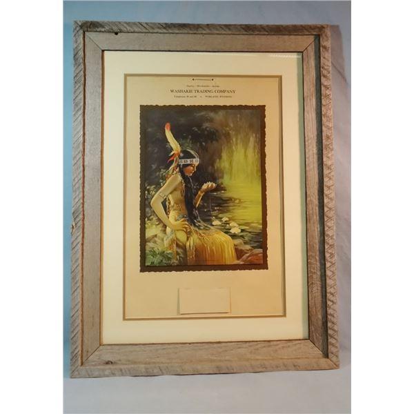 "1933 Indian Maiden calendar, Washaki Trading Post, Worland, WY, 21"" x 14"", framed"