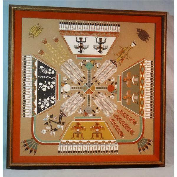 "Navajo religious ceremonial sandstone art, 24"" x 24"", by Herbert Ben Si, Shiprock, N. Mexico"