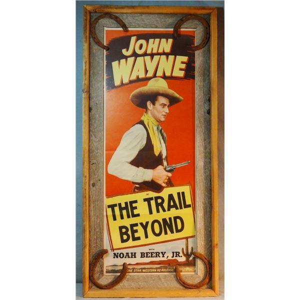 "John Wayne 1934 movie poster ""The Trail Beyond"", framed"