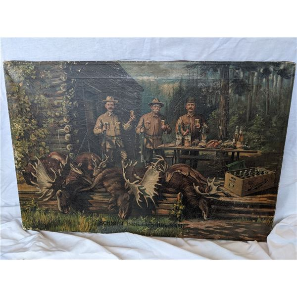 """""""Schmidt Bros Co Big Game"""" advertisement painting on canvas by Jacob Schmidt Brewing Company, St. Pa"""
