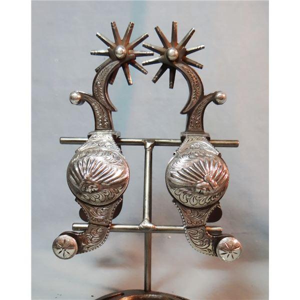 E. Garcia silver mtd spurs, Indian War Bonnet