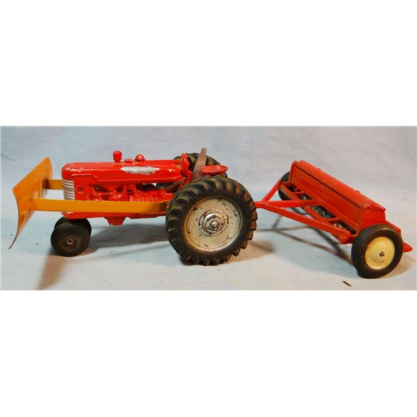 Toy tractor and grain drill