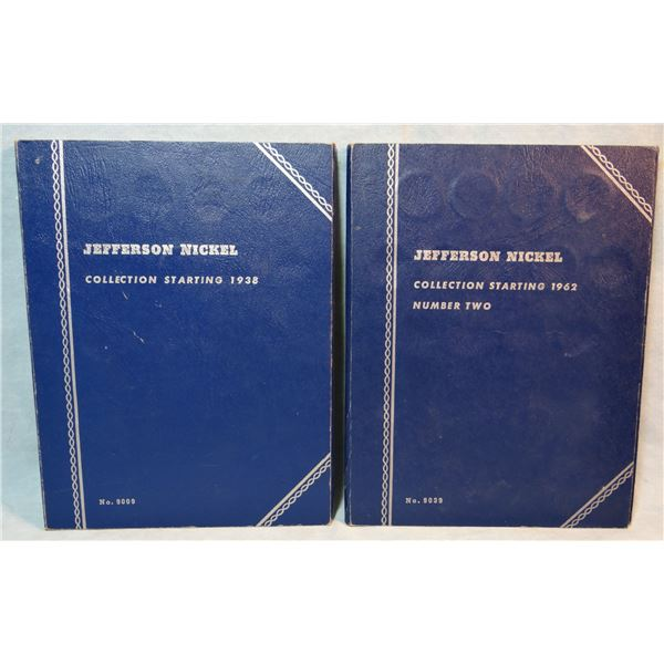 2 Jefferson nickel booklets, 1938-1961, 1962- present, partially full