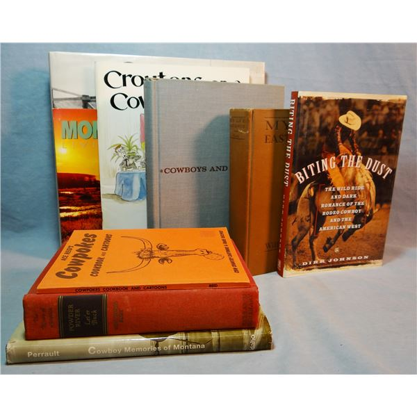 """9 """"Cowboy"""" Books: Law of The Range (MT Brand Inspectors with photo); Cowboys and Cattlemen, Kennedy;"""