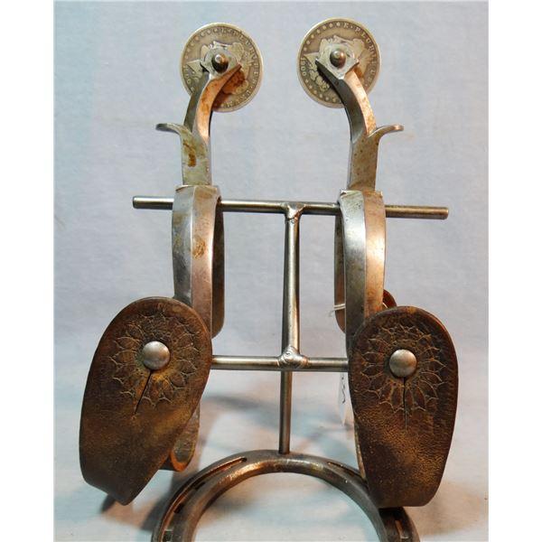 Buermann rodeo herringbone spurs, silver dollar rowels, orig. straps
