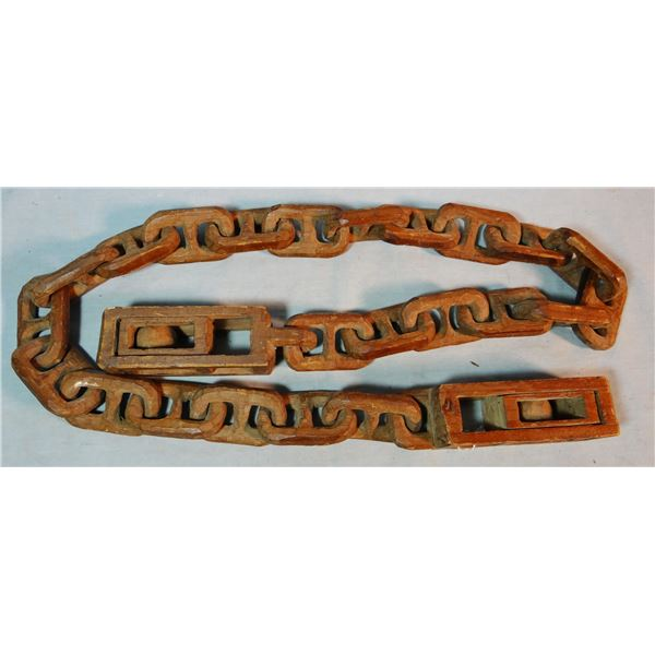 Prison-made wooden link chain, ca. early 1900's, slides and balls