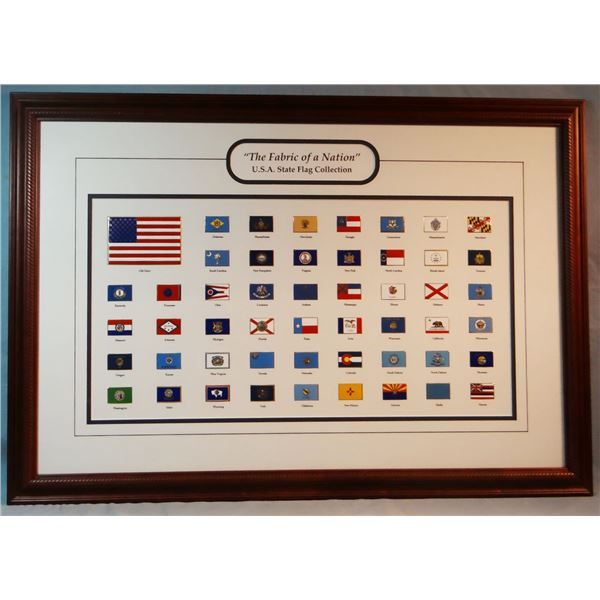 """USA State Flag Collection, 14"""" x 26"""" and Bald Eagle photo, framed"""