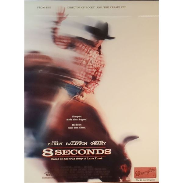 """8 Seconds Movie poster, Lane Frost story, 1987 World Champion Bull Rider, 28"""" x 22"""""""