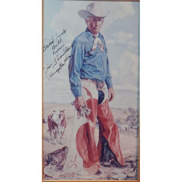 """Wilson, Charles print, Jim Shoulders, 13"""" x 7"""", signed by Jim Shoulders"""