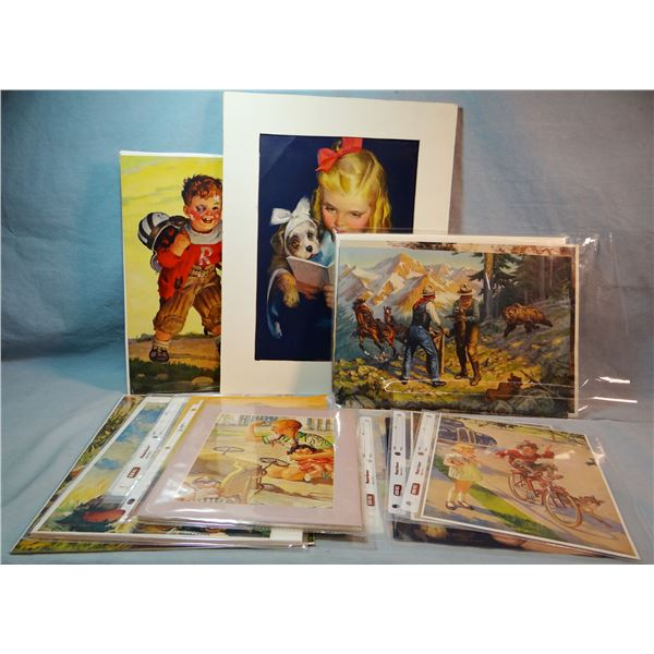 12 - 1940's calendar prints of children and 5 1940s western calendar prints, Thomas Murphy Calendar