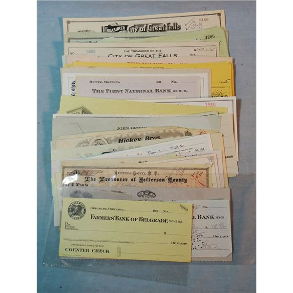 101 different Montana checks, ca. 1871-1960s, many with vignettes