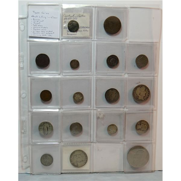 16 type coins: Roman coin; 1820 large cent; 1866 2 cent piece;  1837 half dime; 1866 Shield nickel;