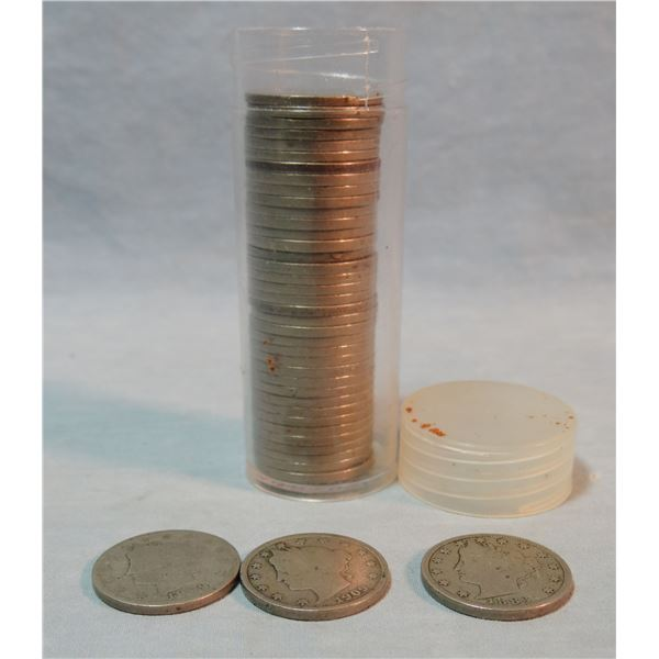 Roll (40 coins) of Liberty Nickels, 1883 -1912, includes 1912-D mint mark