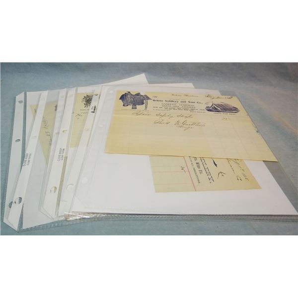 7 Helena, M. T. saddlery letterheads and 7 Non-Montana Saddlery letterheads