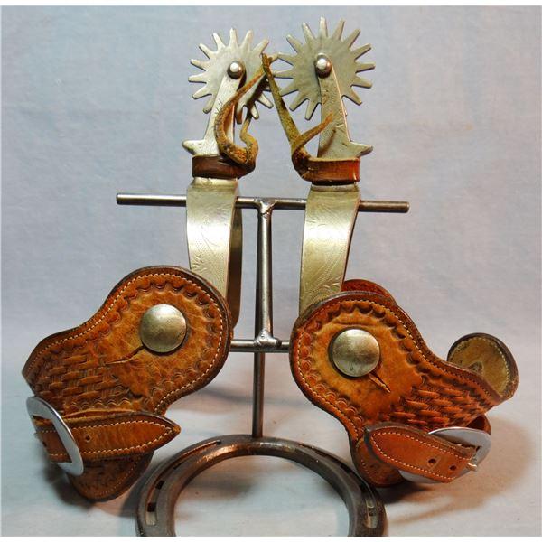 Ricardo nickel etched silver spurs, large rowels