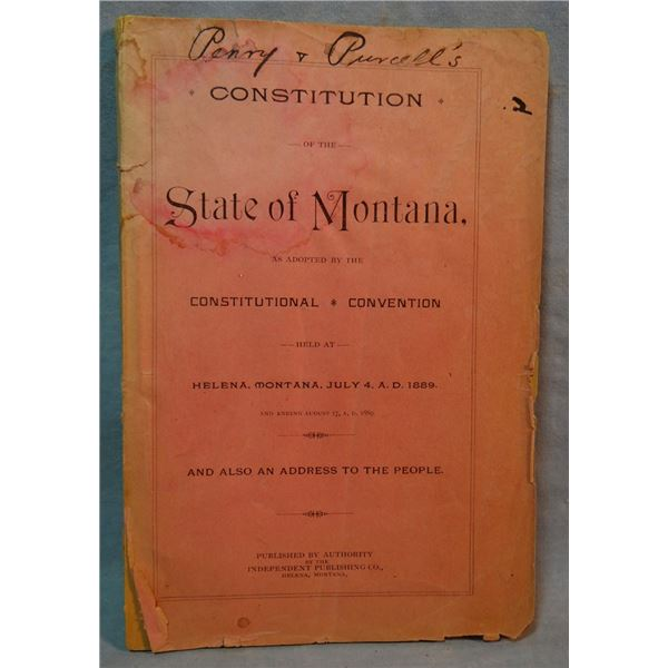 1889 Constitution of the State of Montana (back cover missing)