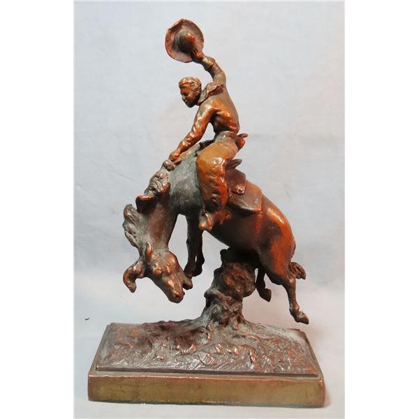 """Herzel, Paul (1876-1956) metal sculpture, Bronc Rider, 10"""" h"""