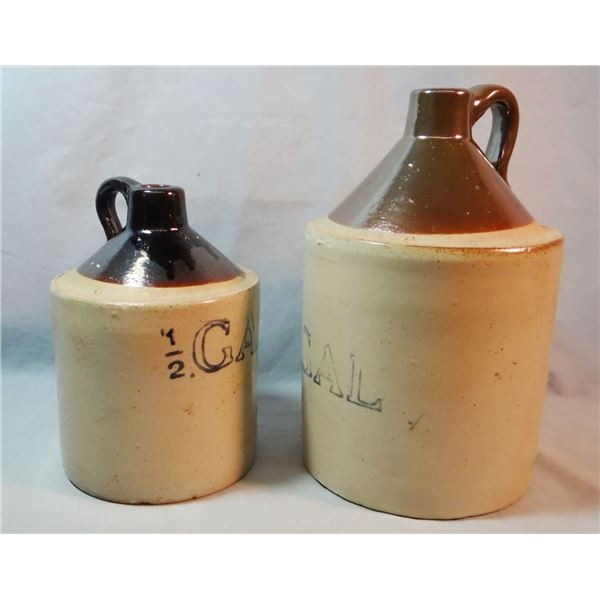 2 crock jugs, 1 gal and 1/2 gal