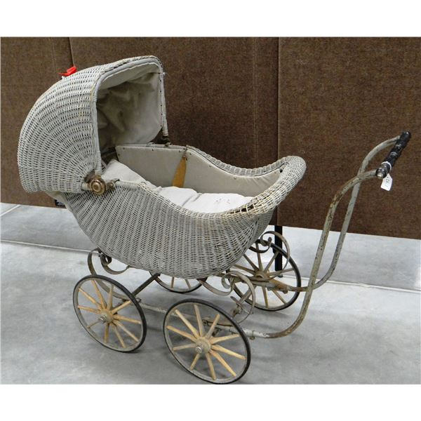 """Wicker baby buggy, 45"""" long x 42"""" h, nice condition"""