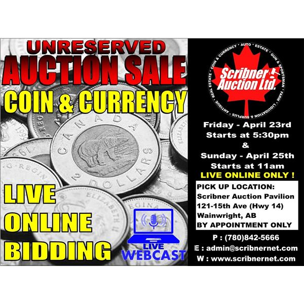 3 DAY : COIN, PRIVATE ANTIQUE COLLECTION & COIN AUCTION : APRIL 23-24-25: 2021 LIVE ONLINE ONLY